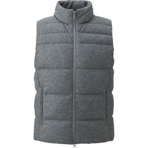UNIQLO Women's Wool Blended Down Vest Grey Medium